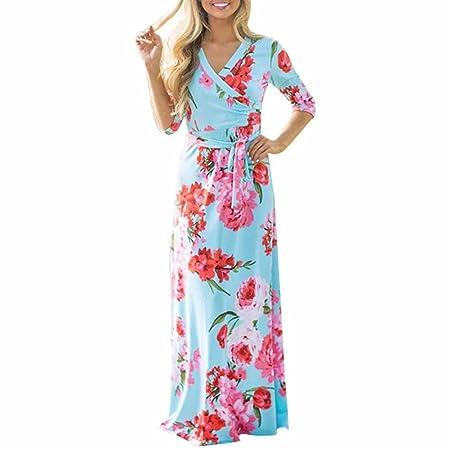 BBring Máxima de Vestido, Mujer Cuello En V túnica Floral Ropa ...