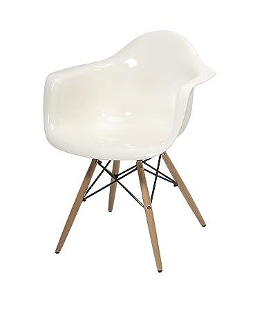 IMAX 89526 Arturo White Acrylic Chair with Wood Leg