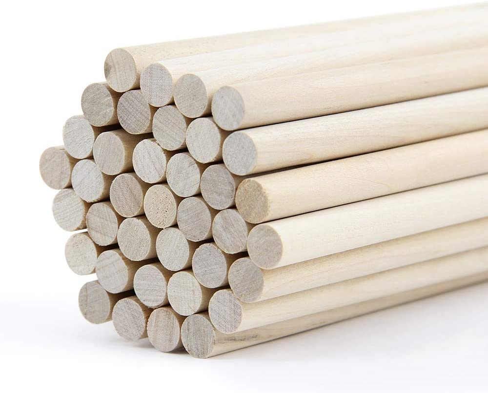 RIVERKING wood rod,Natural wooden dowels,unfinished wooden wedding dowel rods,round pennant kite stick,craft rhythm sticks for wedding,music class,party,dIY crafts(50 pcs,3/8 x 12 inch)