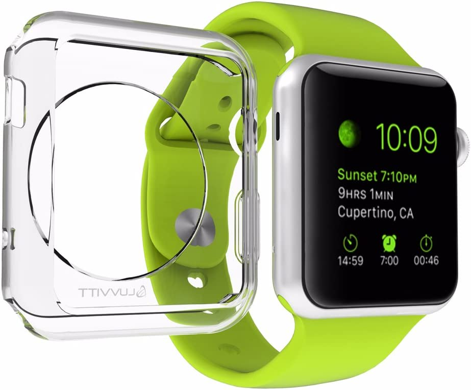 Apple Watch Case, LUVVITTA® CLARITY Apple Watch Case 42mm | with TEMPERED GLASS Screen Protector - Full Body Apple Watch Cover | TPU Flexible Rubber Case for Apple Watch / Sport / Edition - 42m Clear,