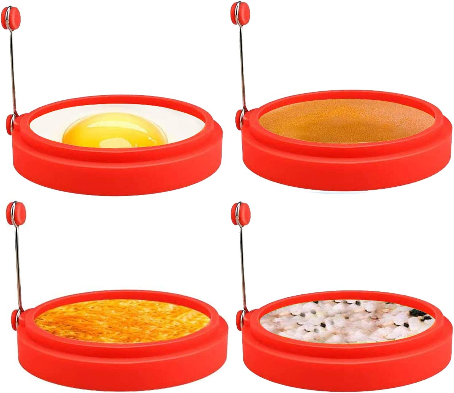 Silicone Egg Rings, 4 Inch Food Grade Egg Cooking Rings, Non Stick Fried Egg Ring Mold, Pancake Breakfast Sandwiches, Egg Mcmuffin Ring(Red,4Pack)…
