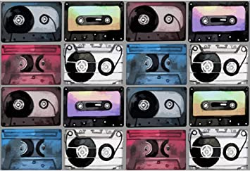 Leyiyi Old Tape Backdrop 15x10ft Photography Backdrop Headset 70s 80s 90s Party Nightclub Bar Pub Backdrop Photo Booth Props