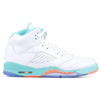 separation shoes 73151 3ed5d Nike Air Jordan 5 Retro Kids GS White Crimson Pulse-Light Aqua 440892-