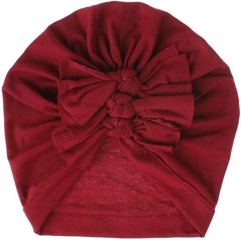 Doyime Sombreros para ni?os gorros pull-over adecuados para ni?os de 0 a 3 a?os sombreros indios con lazo Accesorios de moda para disfraces sombreros para bebés Red wine