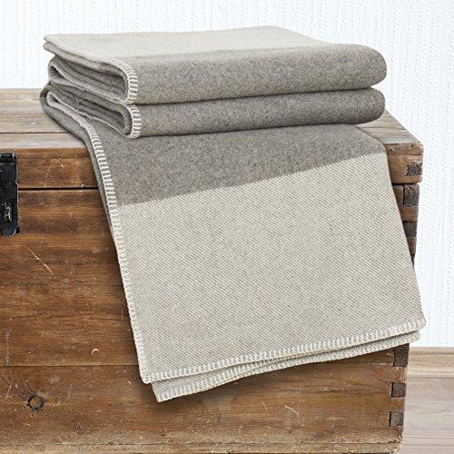 Bedford Home 100% Australian Wool Blanket, Full/Queen, Platinum