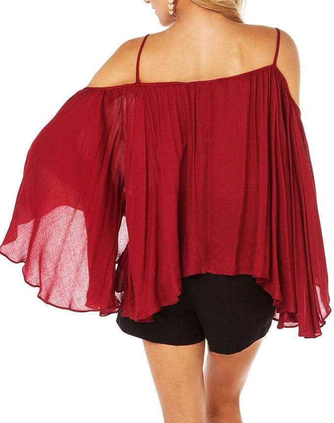 Frauen arbeiten Blusen Unregelmäßige lange Hülse trägerloses Chiffon- Tops  Damen T-Shirt: Amazon.de: Bekleidung