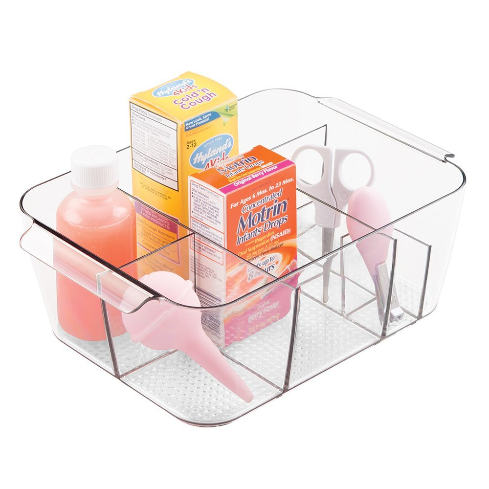 mDesign Baby and Nursery Divided Storage Organizer Tote Bin - Small, Clear MetroDecor 0428MDB