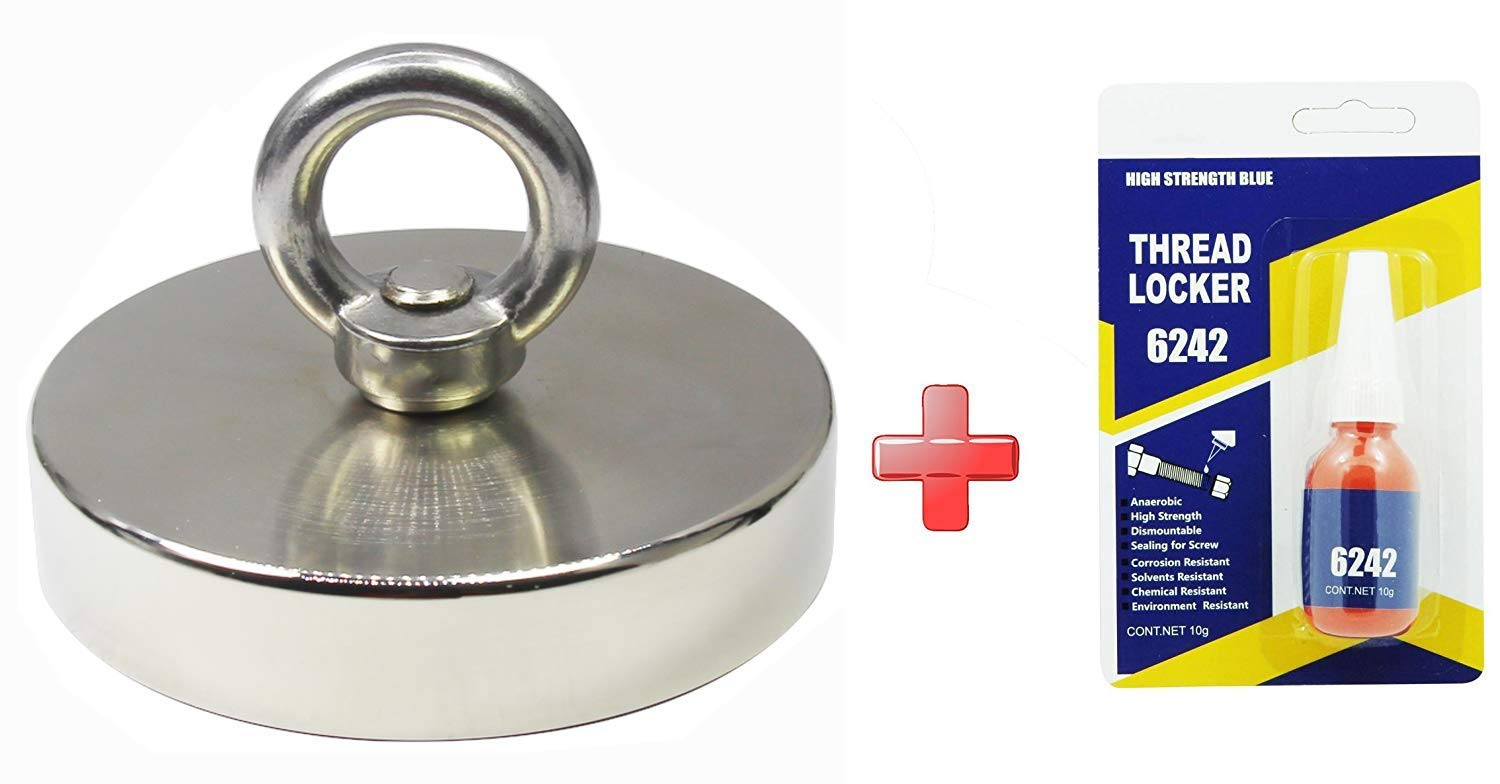 SELLERS360 1300LBS Pulling Force(545KG) Magnetic Grade N52 Round Neodymium Magnet with Eyebolt and Countersunk Hole Diameter 4.72 Inch (120mm) Great for Magnetic Fishing by SELLERS360