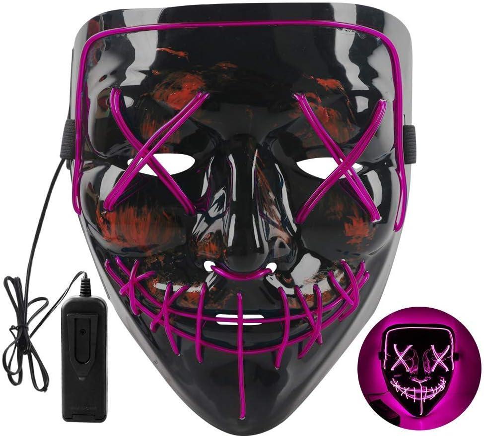 Maschera Smorfia Alimentato LED Illumina la Maschere,per Halloween Cosplay Feste del Partito Halloween Costumi Foneso Halloween LED Maschere Porpora Halloween Accessori