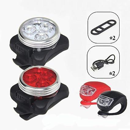 XXZ Luces Bicicleta Recargable LED Luz para Bicicleta por USB Conjunto de Luces Delantera y Trasera para Bicicleta 4 Modo Reflector Bici Seguridad Faro de Señal Clip-On Silicone Luces De Bicicleta: Amazon.es:
