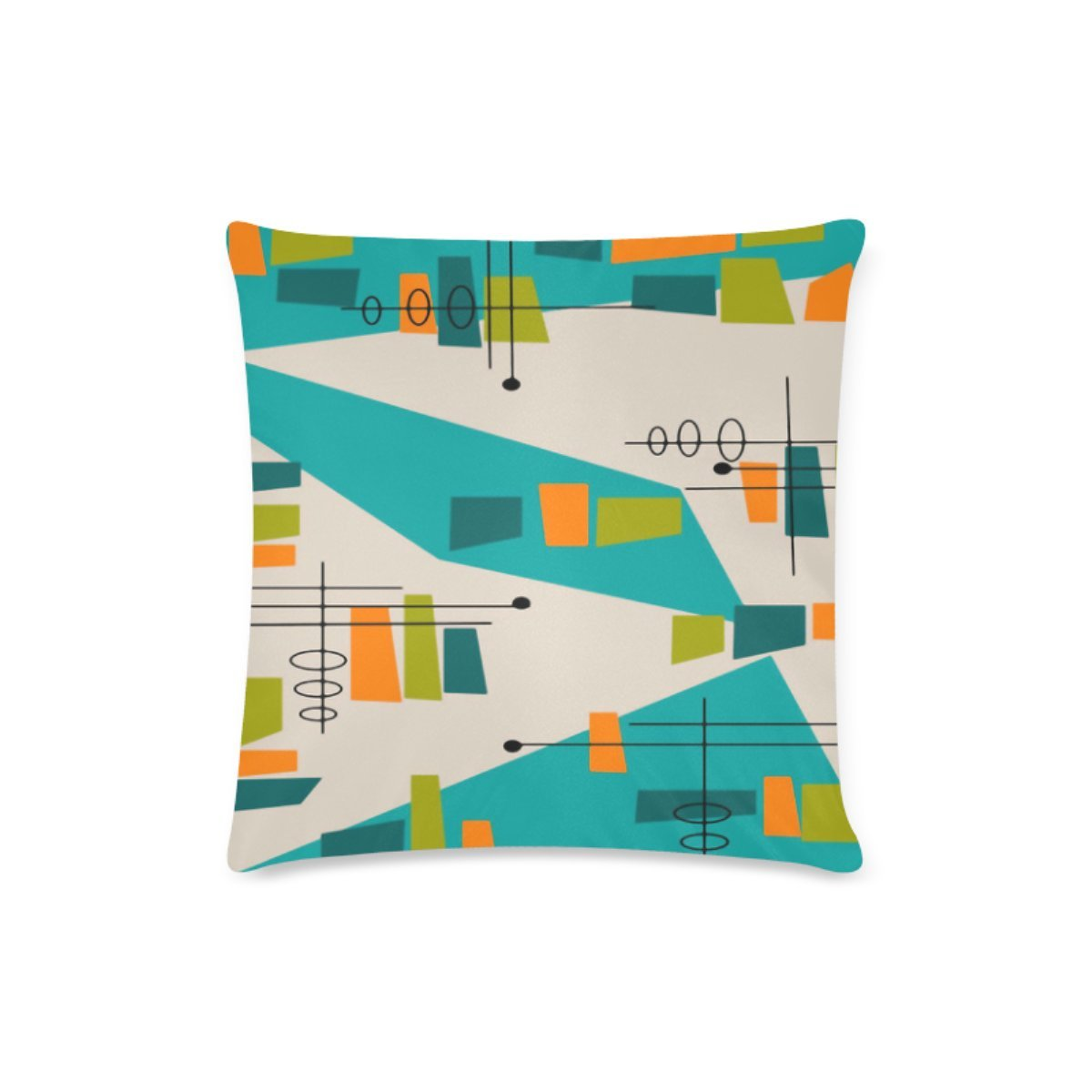 Mid Century Modern Abstract Personalized Custom Decorative Throw Pillow Cover 16''x16'' Cushion Case