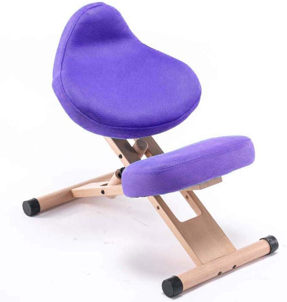 Luorizb Silla de arrodillamiento Ajustable de Madera Maciza for prevenir la Silla de corrección de la Postura de la Postura del alumno de la Myopia (Color : F)