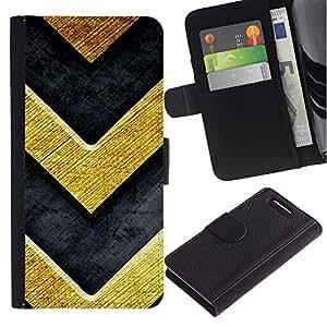 KingStore / Leather Etui en cuir / Sony Xperia Z3 Compact / Chevron Bling del oro de la textura de metal cepillado