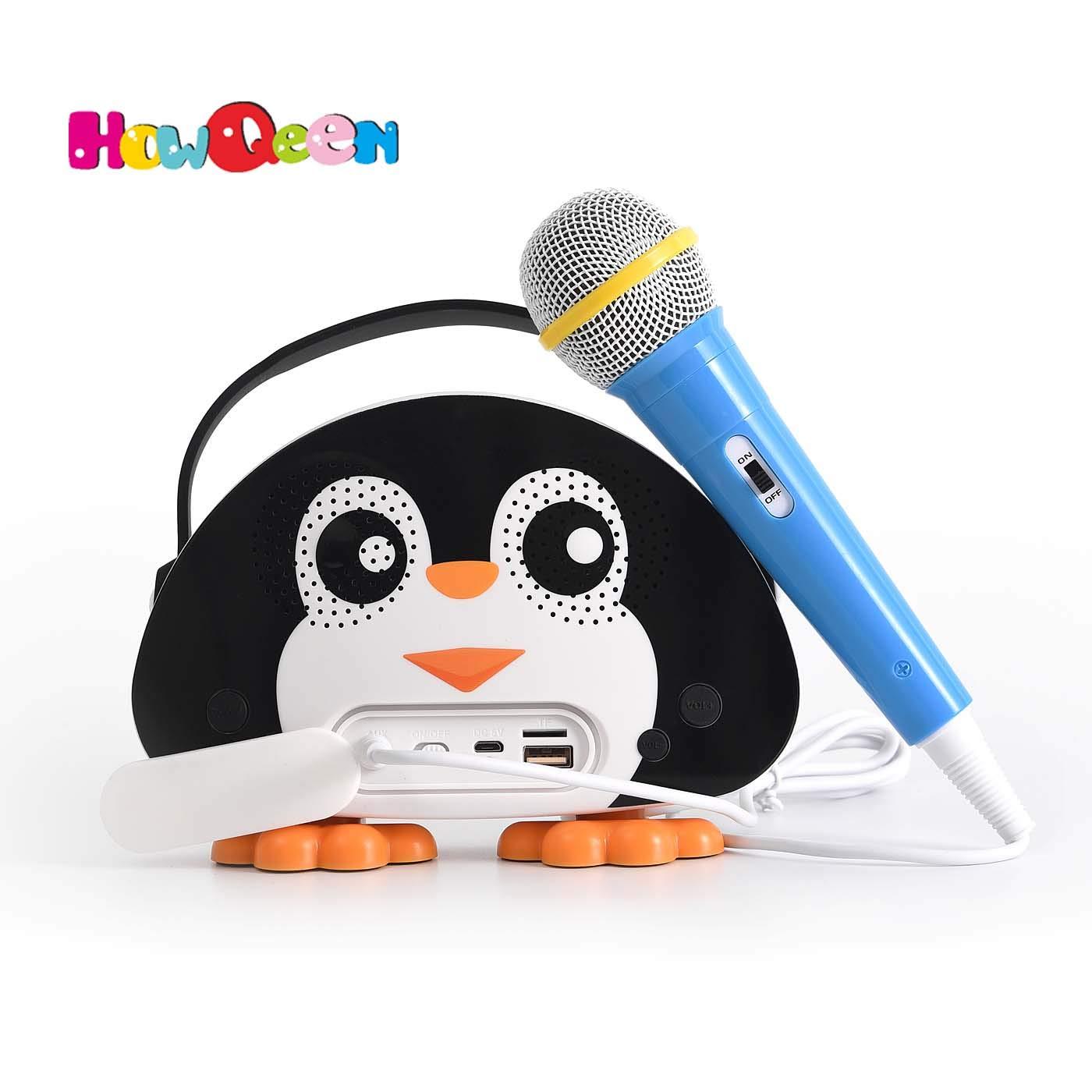 HowQ Outdoor Toys Karaoke Machine , Portable Kids Karaoke Bluetooth Speaker Wireless Cartoon Speaker for Kids for Indoor Toys Travel Activities with Microphone Penguin Karaoke Machine(Black-White)