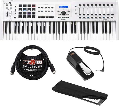 Arturia KeyLab MKII 61 Controlador y software profesional MIDI (blanco) con cable MIDI de 6 pies, pedal de sostenimiento y cubierta antipolvo para ...