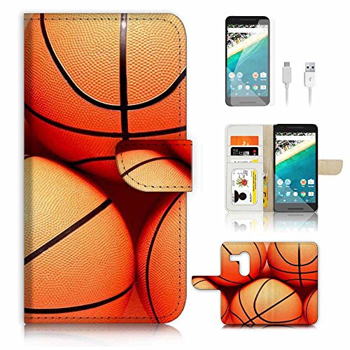 ( For Google Nexus 5X ) Flip Wallet Case Cover & Screen Protector & Charging Cable Bundle! A3946 Basketball