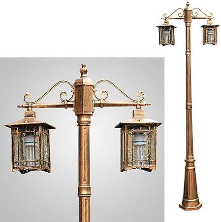 Dciszl Lámparas de mástil-Lámparas de pie for jardín Lámparas de pie Retro Tonos de Aluminio Fundido y Vidrio Luces de Exterior Portavelas a Prueba de Agua (H 230CM) Bronce: Amazon.es: Hogar