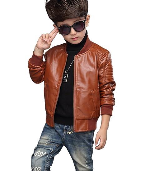 Royaume-Uni disponibilité 69276 5217b YoungSoul Manteau Manches Longues pour Enfant Garçon Chaud Automne Hiver  Veste en simili cuir ado Blouson Motard faux cuir