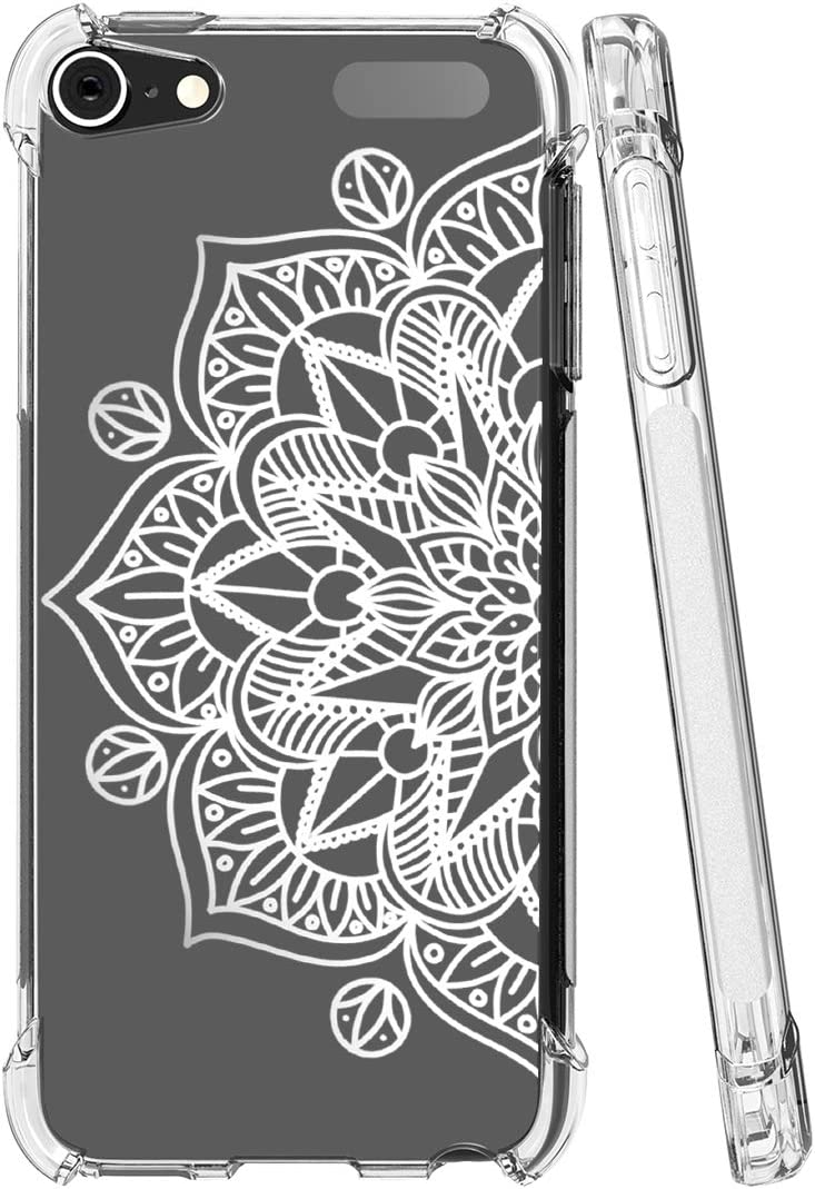 Topeiye Flowers Clear Slim Designed for iPod Touch 7 Case,iPod Touch 6 Case, Shock-Absorption Floral Flexible Soft TPU Protective Case Cover for Apple iPod Touch 5/6/7th Generation (Mandala)