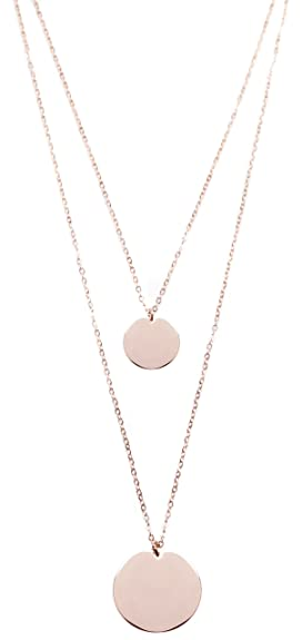 Amazon layered necklace circle pendants rose gold double layered necklace circle pendants rose gold double row necklace 2 round charms aloadofball Gallery