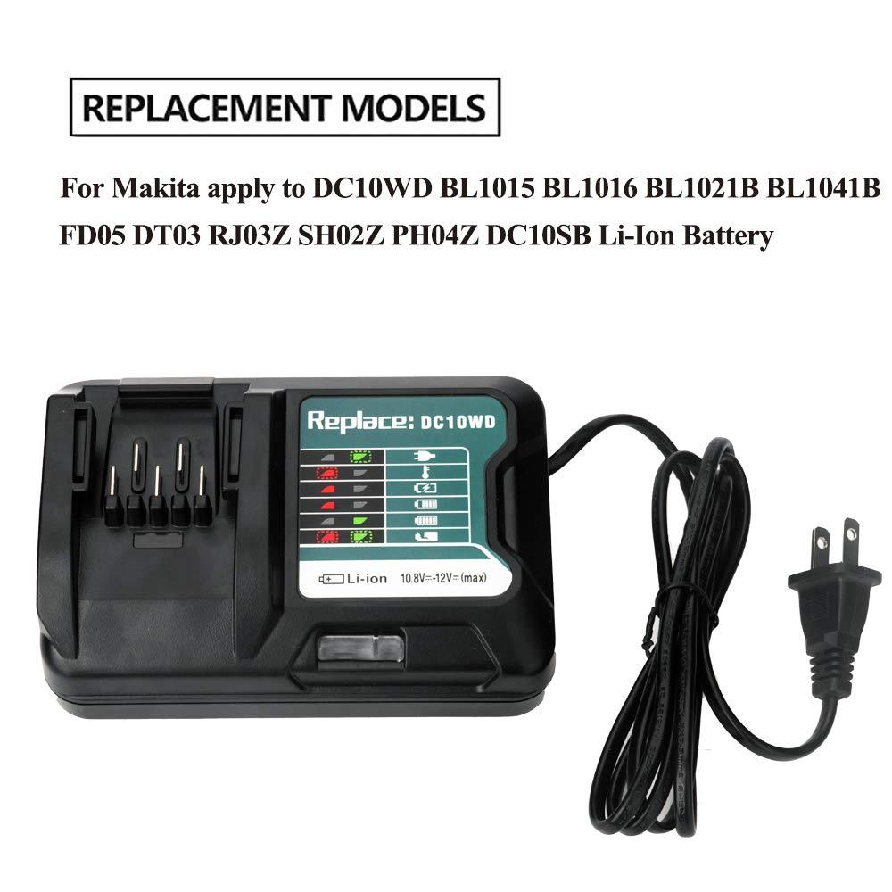 Ladegerät Charger für Makita DC10WD//DC10SB//DC10WC//BL1015//BL1016//BL1021B//BL1041B