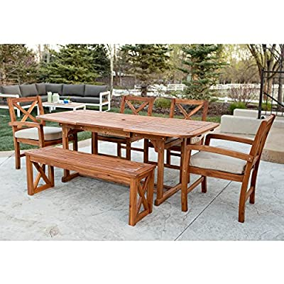 WE Furniture 6 Piece X-Back Acacia Patio Dining Set with Cushions - Resistant to a variety of outdoor elements Natural grain finish and shine Plush, polyester cushions - patio-furniture, dining-sets-patio-funiture, patio - 61pdct6StXL. SS400  -