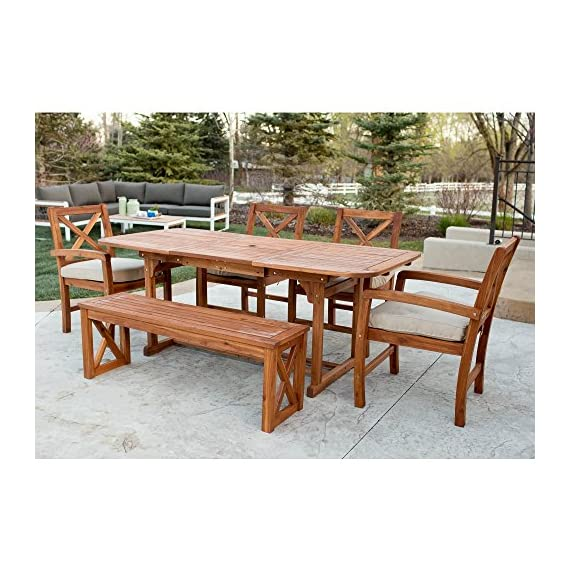 WE Furniture 6 Piece X-Back Acacia Patio Dining Set with Cushions - Resistant to a variety of outdoor elements Natural grain finish and shine Plush, polyester cushions - patio-furniture, dining-sets-patio-funiture, patio - 61pdct6StXL. SS570  -