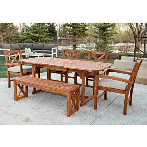 WE Furniture 6 Piece X-Back Acacia Patio Dining Set with Cushions