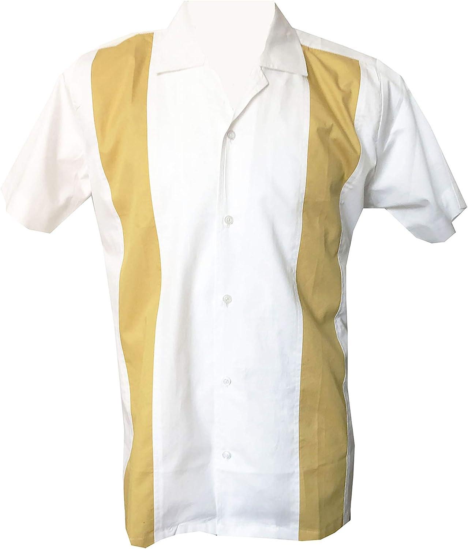 Rockabilly Fashions - Camisa de bolos para hombre, estilo casual, de los años 50, 1960, color blanco: Amazon.es: Ropa y accesorios