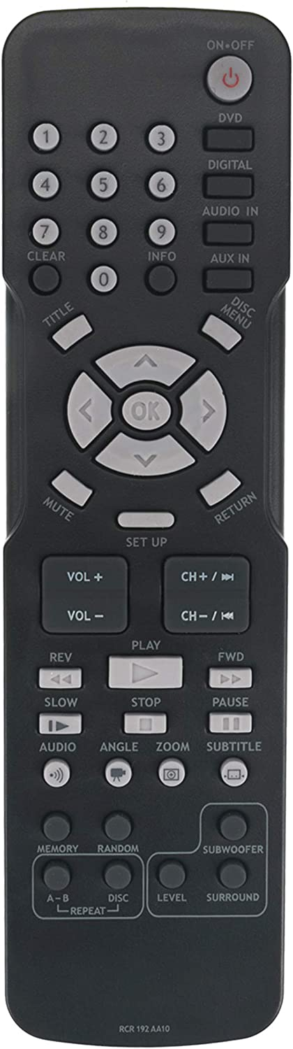 AULCMEET RCR192AA10 RCR 192 AA10 Replaced Remote Control Compatible with RCA Home Theater DVD RTD3131 RTD3133 RTD3136 RTD3236 RTD3236E RTD3236EH RTD3276H RTD3131E RTD3133H RTD3136EH