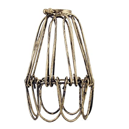 Vintage hanging lamp cage shade for pendant lamp e27 antique brass vintage hanging lamp cage shade for pendant lamp e27 antique brass no wire greentooth Choice Image