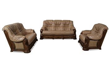 Sofa Couch Chojmex Leder Garnitur 3 2 1 Brussel Braun Amazonde