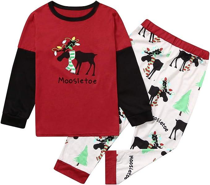 Surfiiy Pijama Familia Navidad Set Niños Unisex Dos Piezas Alce ...