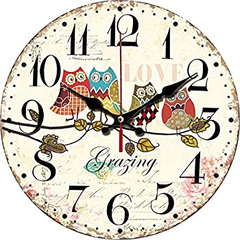"""Grazing 12"""" Cute Cartoon Vintage Owl Design Arabic Numerals Rustic Country Tuscan Style Wooden Decorative Round Wall Clock (Owl 02)"""