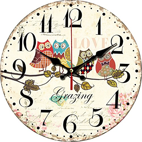Grazing 12 Cute Cartoon Vintage Owl Design Arabic Numerals Rustic Country Tuscan Style Wooden Decorative Round Wall Clock (Owl 02)