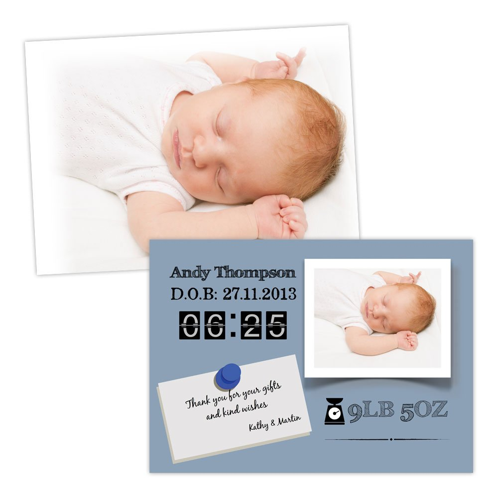 A5 double-sided Silk card Made by Mika Personalised baby announcements BABY ANNOUNCEMENT FRAME BOY FREE DRAFT & FREE ENVELOPES (200, A5 double-sided Silk card)