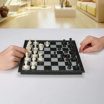 Silbans International Mini Foldable Chess Game with 32 Magnetic Pawns and Easy to Carry in Pockets