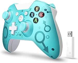 xuelili Controles sem fio para Xbox One, joystick de PC sem fio com adaptador sem fio de 2,4 GHz, compatível com Xbox One / One S / One X / P3 Host / Windows 7/8/10,Azul