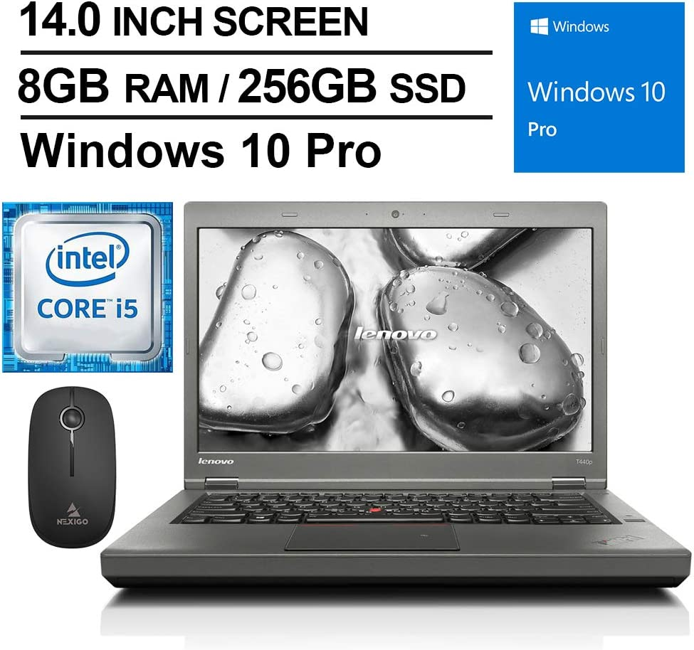 Lenovo ThinkPad T440P 14 Inch Business Laptop, Intel Core i5-4300M up to 3.3GHz, 8GB DDR3L RAM, 256GB SSD, HDMI, DVD, Win10 Pro + NexiGo Wireless Mouse Bundle (Renewed)