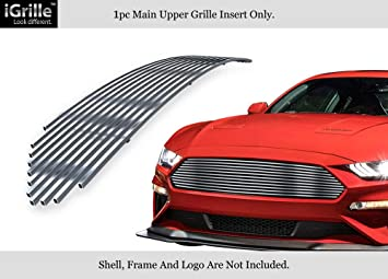 Fits 2018-2019 Ford Mustang GT Main Upper Stainless Steel Black Billet Grille