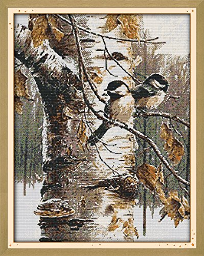 "Joy Sunday Cross Stitch Kits 14CT Counted Autumn birds (1) 19.7""x24.4"" or 50cmx62cm Easy Patterns Embroidery for Girls Crafts DMC Cross-Stitch Supplies Needlework Animal Seriesrk Animal Series"