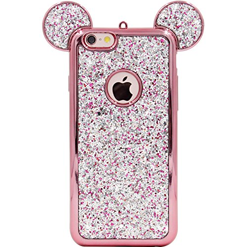 iPhone 6s Case, MC Fashion Sparkle Bling Bling Glitter 3D Mickey Mouse Ear Soft Protective Rubber TPU Case for Apple iPhone 6/6s (Glitter-Rose Gold)