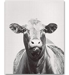 Black and White Cow Photography Farm Animal Nursery Cattle Photography Animal Print Nursery Farmhouse Wall Decor Black and White Cow Art Animal Photography Vintage Animal Picture 8x10