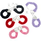 Fuzzy Furry Handcuffs with Keys - One Pack, Colors May Vary, One Size