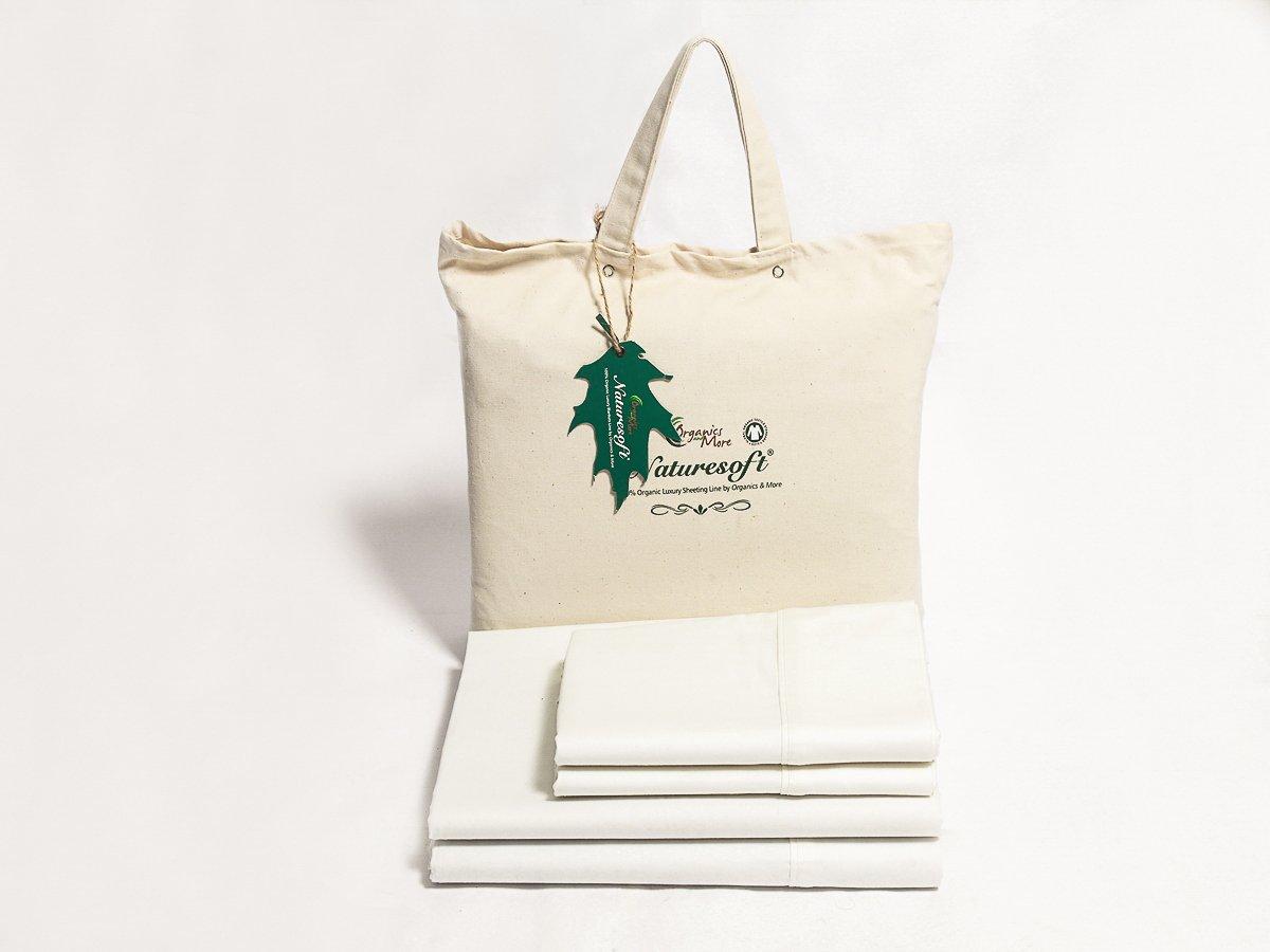 Organics and More Naturesoft Organic Cotton 280 TC Sateen Sheet Sets - Calif. King - White by Organics and More