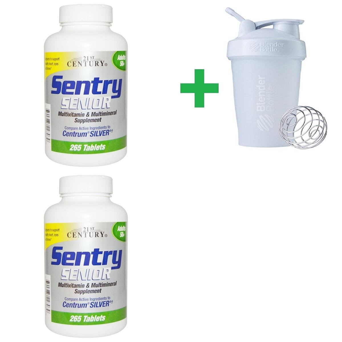 21st Century, Sentry Senior, Multivitamin & Mineral Supplement, Adults 50+, 265 Tablets (2 Packs) + Assorted Sundesa, BlenderBottle, Classic With Loop, 20 oz