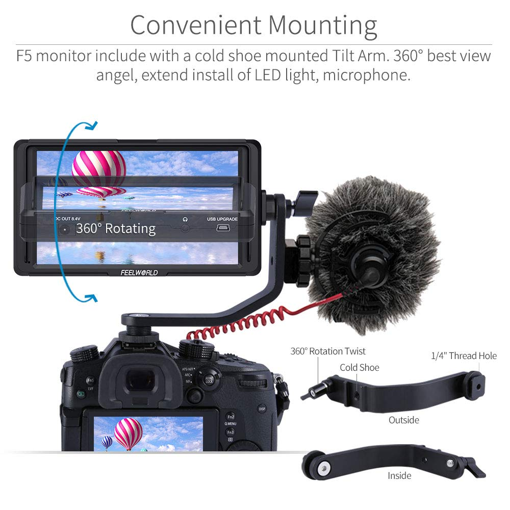 FEELWORLD F5 5 Inch DSLR On Camera Field Monitor Small Full HD 1920x1080 IPS Video Peaking Focus Assist with 4K HDMI 8.4V DC Input Output Include Tilt Arm by FEELWORLD (Image #6)