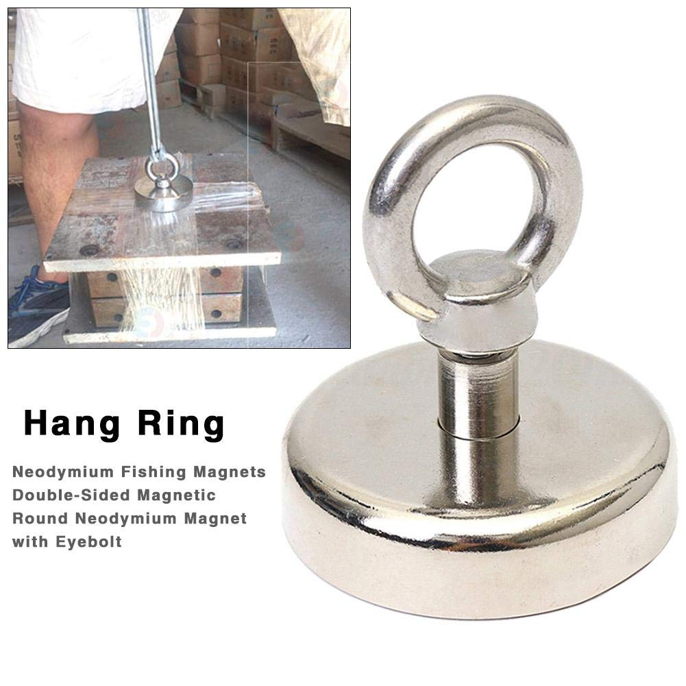 Powerful Round Neodymium Magnet With Eyebolt cuckoo-X Fishing Magnets Double-Sided Magnetic 1000LBS Pulling Force 453Kg