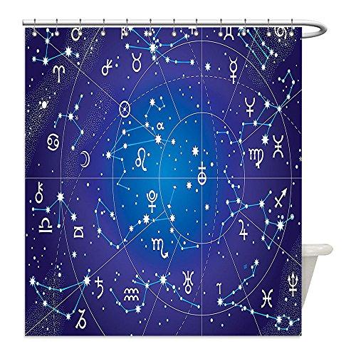 Liguo88 Custom Waterproof Bathroom Shower Curtain Polyester Astrology Decor Constellation of Zodiac and Planets Original Collection Coordinates of Celestial Indigo Royal BLue Decorative - Hughes Constellation