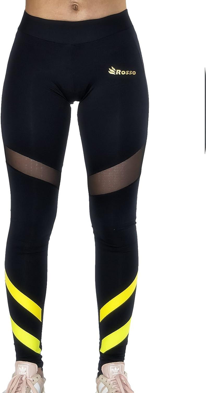 ROSSO Mallas largas para Mujeres Rayas Amarillas Leggins cintura ...